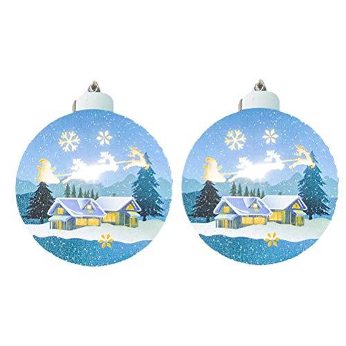 BESTOYARD 4 stücke Weihnachtsmann Schlitten Rentier Weihnachtsbaum Schneeflocken Shadow Light Box Leuchten Holz Weihnachtsbaum Dekorationen Hängende Ornamente (Rustikale Holz-shadow Box)