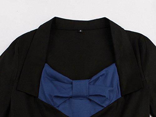 Eudolah Robe courte Vintage patineuse de soirée avec manches style années 50 Femme Bleu