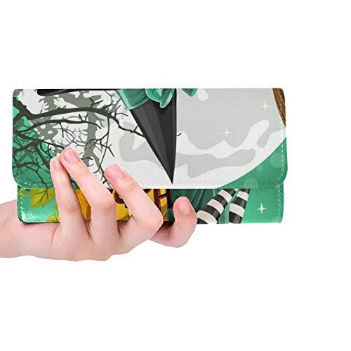 Einzigartige benutzerdefinierte schöne Junge Hexe Buch Besen sitzen Frauen dreifach gefaltete Brieftasche Lange Geldbörse Kreditkarteninhaber Fall Handtasche