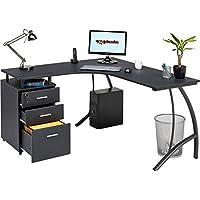 Großen Ecke Computer-Schreibtisch mit 3Schubladen und Registratur A4, Passende Andere Piranha Graphit schwarz Effekt Home Office Möbel–Regal PC 28g