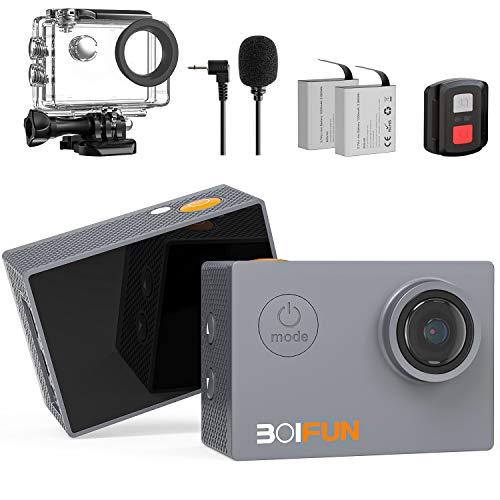 BOIFUN 4K 20MP Action Cam EIS Bildstabilisierte Wi-Fi mit Externem Mikrofon Unterwasserkamera Sport Helmkamera Wasserdicht bis 40 Meter Fernsteuerung und 20 Weiteren Zubehörteilen (4k 20mp)
