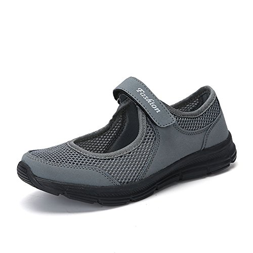 Skang Damen EinfachEinfarbiger Mesh-Klettverschluss Flacher Freizeitschuhe Bequeme Atmungsaktive Frische Und Leichte Sneaker(40 EU,Dunkelgrau)