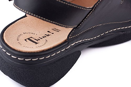 Think Womens Cambio Sandal Leather Sandals Black
