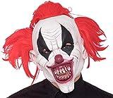 TK Gruppe Timo Klingler Halloween Horror Maske ab 18 Jahren für Herren und Damen aus Latex roter Clown Kostüm Verkleidung