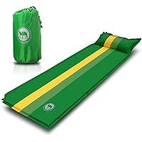 Wasserdichtes selbstaufblasende Isomatte, Ultraleichte Luftmatratze Campingmatte mit Kopfkissen selbstaufblasend für Camping, grün