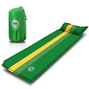 Matelas de camping auto-gonflable + oreiller - tapis léger et de grande qualité avec sac de rangement. Portable pour Camping / Randonnée