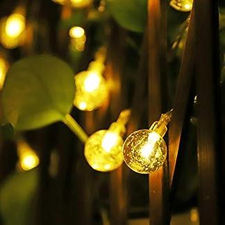 Salcar 5m 10m Guirnalda de luces solares, 40 luces LED Bola Cristal para jardín, patio, exteriores, impermeable, para interiores y exteriores – Blanco/Blanco Cálido