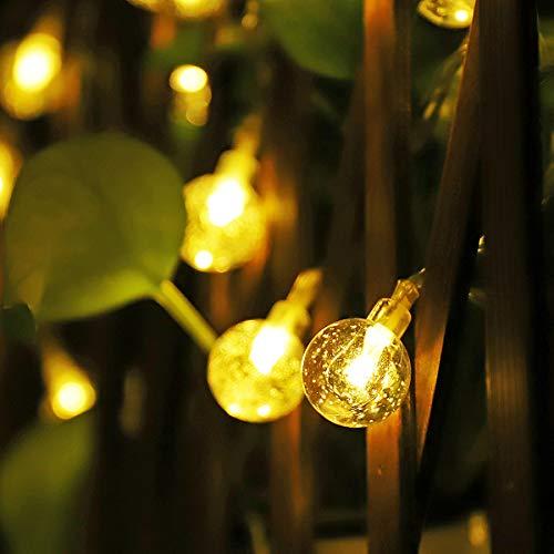 SALCAR Guirnalda Solar Exterior 5m, Exterior Luz Cadena Resistente al Agua con Sensor de luz Luces de Navidad iluminación Blanco Cálido