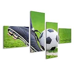 Idea Regalo - islandburner Quadri Moderni Spara Un Pallone da Calcio con i Piedi sul Campo di Calcio Stampa Stampa su Tela Quadro ETI