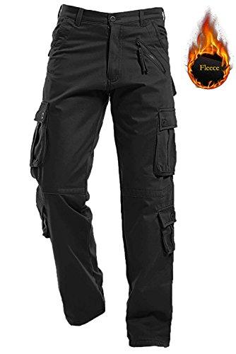 AIZESI da uomo in pile spesso inverno foderato caldo pantaloni cargo camo pantaloni mimetici Worm pantaloni, Uomo, Black#022, 34 Waist x Regular