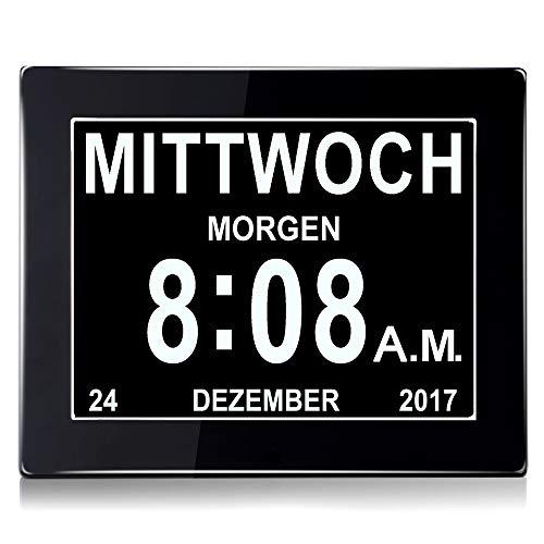 """WSD 8"""" Digital Wecker,Digitaler Kalender Tag Uhr Für Demenz sehschwachen Gelesen Werden,Kinder, Senioren, Sehschwache und Alzheimer Patienten -Großer Schrift Elektronischer Kalender Tag Uhr (Schwarz)"""