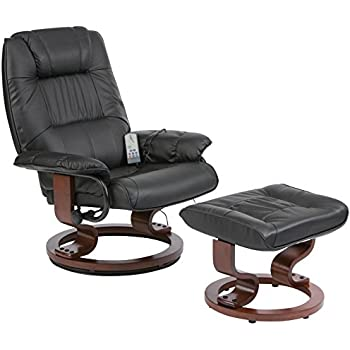 massage chair and footstool. restwell napoli swivel recliner black leather effect massage chair with round base footstool and