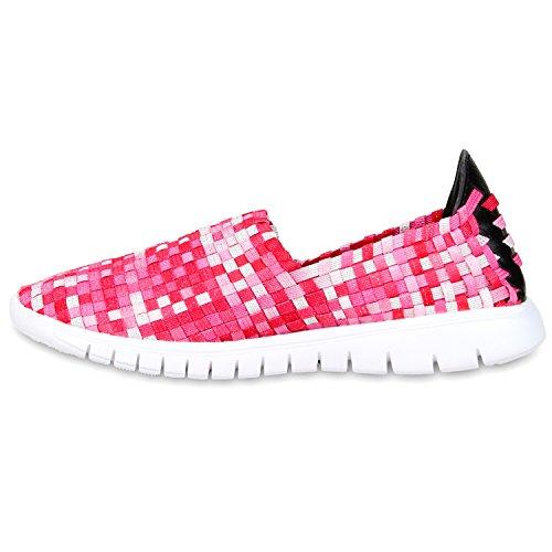 Damen Slip-ons Glitzer Sneakers Helle Sohle Slipper Metallic Pink Rot
