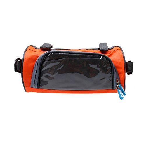 Gazechimp Praktische und Multifunktionelle Fahrradtasche, Radsport Handytasche auf Lenker mit Touch-Screen, oder als schöne Umhängetasche Orange - Rund