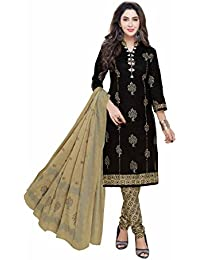 Miraan Women's Cotton Unstitched Dress Material (Black_Free Size)