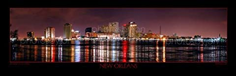 New Orleans Skyline CHOOSE FROM FOUR STYLES 12 inches x 36 inches UNFRAMED Photographic Panorama Poster Print Photo Picture Standard Frame Size by Photography by Jon Holiday