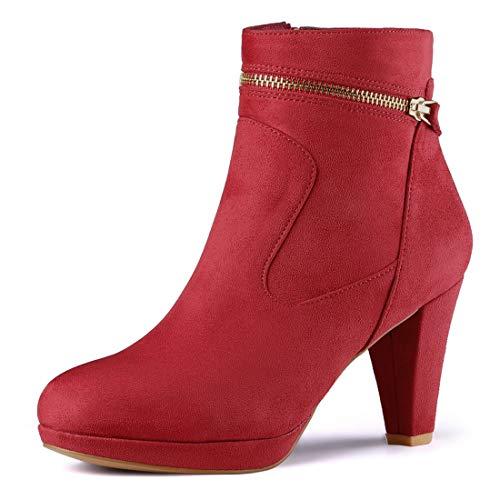 Allegra K Damen Round Toe Slip On Zip Blockabsatz Ankle Boots Stiefel Rot EU 40 8-zoll-zip-boot