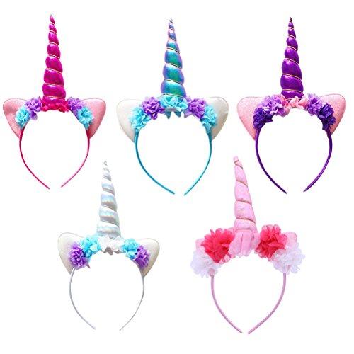 Lurrose Hallowen Einhorn Horn Stirnband Blume Haarband Bühnenkostüm Zubehör für Chilren Kids Baby Mädchen