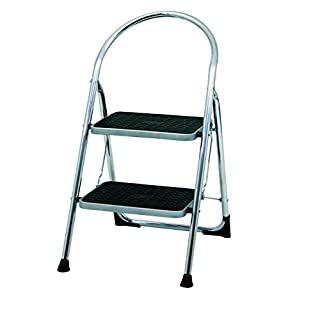 Abru Chrome 2 Step Stepstool, Heavy Duty 150Kg Load Capacity, EN14183 certification, 5 Year Guarantee, Chrome