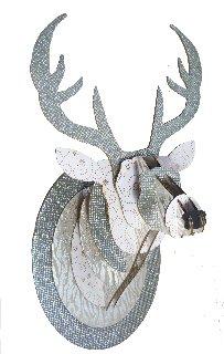Trophée tête de cerf en carton Gris pailleté