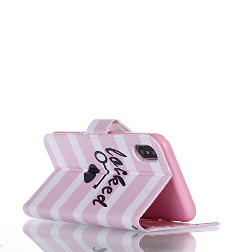 iPhone X Custodia, iPhone X Custodia Pelle, iPhone X Custodia Portafoglio, JAWSEU Pittura Colorata Creativo Lusso PU Leather Flip Cover Custodia per iPhone X Protectiva Bumper con Morbida Gel Silicone Strisce Rosa e Bianco