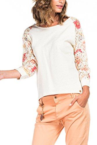 Salsa - Pull blanc en coton avec manches imprimées - Femme Perle