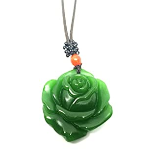 yigedan Natural Green Jade Rose Necklace Pendant Leather Rope Lucky Amulet