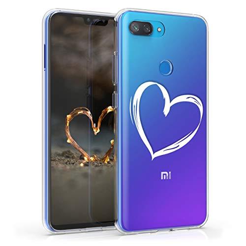 kwmobile Funda para Xiaomi Mi 8 Lite - Carcasa de TPU para móvil y diseño Dibujo de corazón en Blanco/Transparente
