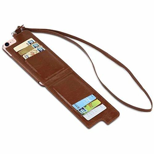 Wkae Multifunktions-handgefertigte Strick-Textur Flip Leder Brieftasche Case mit Card Slots & Lanyard für 4,7 Zoll iPhone 6s iPhone 7 & iPhone 8 ( Color : Green ) Brown