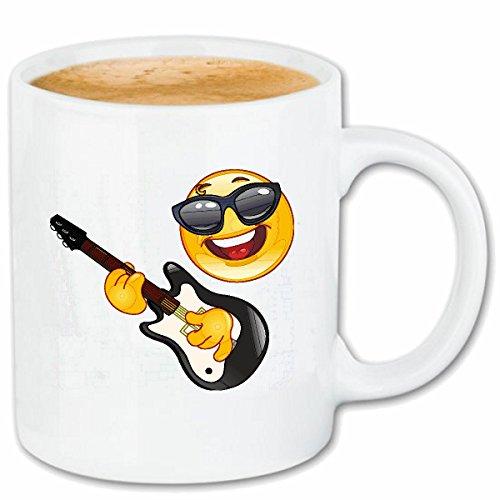 Reifen-Markt Kaffeetasse Cooler Smiley MIT Sonnenbrille BEIM Gitarre Spielen Smileys Smilies Android iPhone Emoticons IOS GRINSE Gesicht Emoticon APP Keramik 330