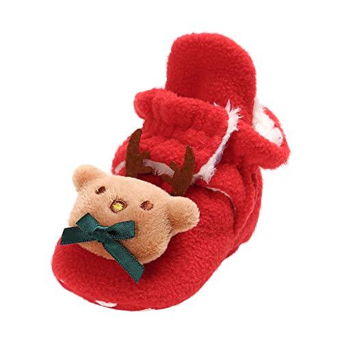 FNKDOR Baby Jungen Mädchen Weihnachten Babyschuhe Neugeborene Lauflernschuhe Wildleder Winter Krabbelschuhe Mit Plüsch Gefüttert Rot 0-3 Monate