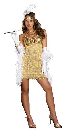 Vaudeville Vixen Costume Gold Large  - Corpetto Trim