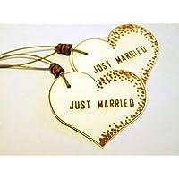 Geschenkanhänger JUST MARRIED/ 2 STÜCK/ Präsentanhänger/ Hochzeit/ Herzanhänger/ Geschenkdekoration/ Glückwunschkärtchen/ Gift Tag/ Deko - Anhänger/ Holzschliffpappe/ Naturdeko