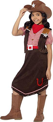 Kind Cowgirl Kostüm Halloween (Smiffys, Kinder Mädchen Cowgirl Deluxe Kostüm, Oberteil, Rock, Hut und Halstuch, Größe: S,)