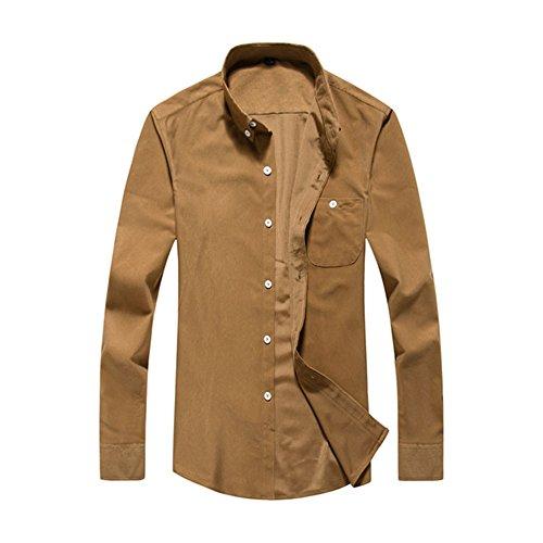 PIZZ ANNU Herren Einfach Einfarbig Cord Langarm-Shirt (khaki L) (Khaki Cord)
