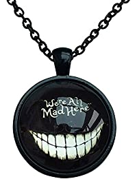 Cheshire Cat 'We're All Mad Here' Collar con cadena negra