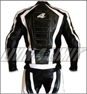 Livin4limit-Tuta-pelle-per-motocross-2-pezzi-con-giacca-e-pantaloni-colore-bianconero