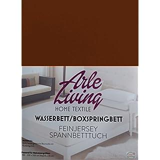 Arle-Living Hochwertige Wasserbett/Boxspringbett Feinjersey Spannbettlaken kaffeebraun/Coffee Brown/brun 180x200 cm - 35cm Steghöhe - Spannbetttuch Rundumgummi