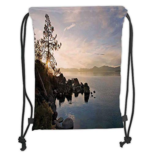LULUZXOA Gym Bag Printed Drawstring Sack Backpacks Bags,Lake,Lake Tahoe at Sunset with Clear Sky and Single Pine Tree Rest Peaceful Weekend Photo,Blue Grey Soft Satin, -