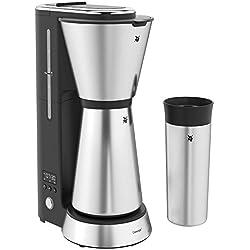 WMF Küchenminis Aroma Kaffeemaschine, mit Thermoskanne, Filterkaffee 5 Tassen, Thermobecher to go (350ml), 870 Watt, 24 Stunden-Timer, Abschaltautomtik, silber