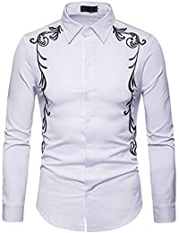 BUSIM Men's Long Sleeved Shirt Autumn Winter Luxury Casual National Style Embroidery Lapels Button T-Shirt Fashion...