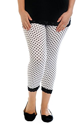 Nouvelle Collection Cropped Polka Dot Lace Trim Leggings White 32-34 Trim Cropped Pants