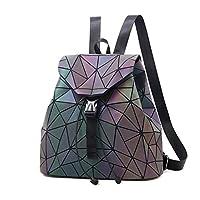 Kleurrijke Rhombic daypack Fashion Unisex Luminous Flash Backpack Casual Travel Backpack Purse grote capaciteit (Color : B)