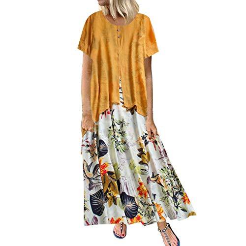Floweworld Damen Plus Size Maxi Kleider Floral Bedruckte O-Ausschnitt lose Kleider ärmellose Kurz/Langarm Casual Kleider -