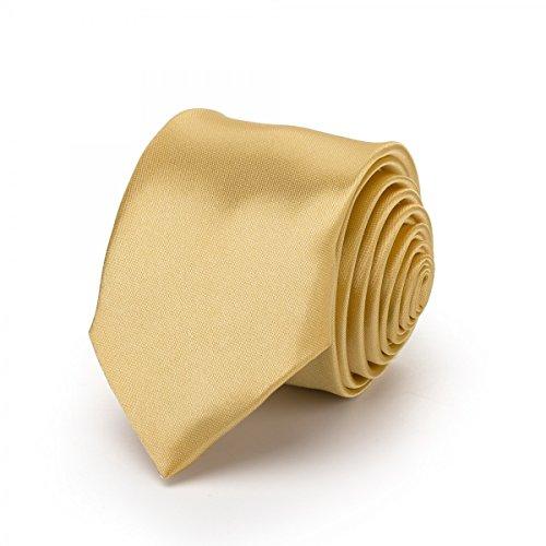 Rusty Bob - Krawatte schmal/dünn 3cm-5cm für Herren [auch für Kinder/Jungen] (uni,nicht gestreift) aus Polyester glänzt wie Seide - Limon-Gelb