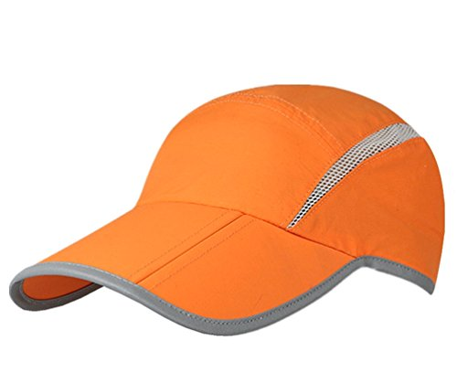GADIEMENSS Quick Dry Sports Hat Lightweight Breathable Soft Outdoor Running Cap (Folding series, Orange) (Running Leder Cap)