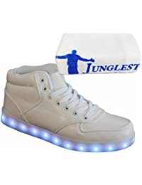 (Present:kleines Handtuch)High Top mit Velcro Rot 35 EU Sport mode Aufladen Leuchtend für Sportschuhe Farbe Turnschuhe LED Sneaker USB Unisex-Erwachsene