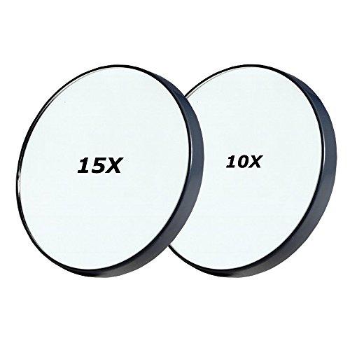 AlierKin Specchio ingrandimento 10x & 15x, con Ventosa, in plastica, compatto e portatile, ø 8.8 cm, Nero