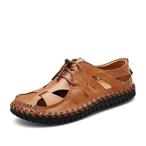 Xing Lin Plage Flip Flop Hommes Sandales En Cuir _ Hommes Sandales Homme En Cuir Sandales Respirant Artisanat Décontracté Creux Jaune-marron