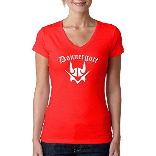 Fun Sprüche Girlie V-Neck Shirt - Donnergott by Im-Shirt Rot
